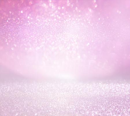 glitter vintage lights background. pink and silver. defocused