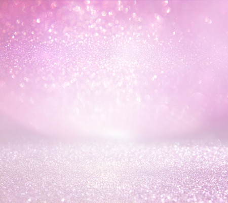 glittery: glitter vintage lights background. pink and silver. defocused