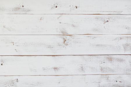 Grunge vintage white wooden board  background. Stock Photo