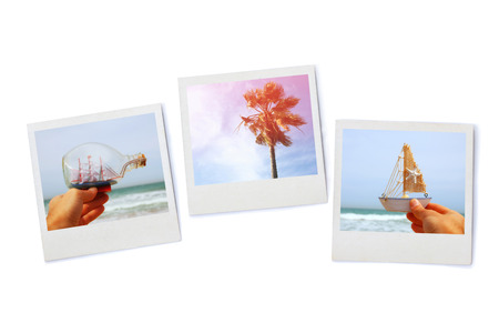 stack of Instant photos, isolated on white background