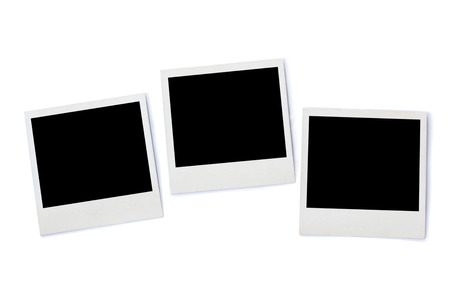 photo paper: stack of Instant photo frames, isolated on white background. template. ready to put photos Stock Photo