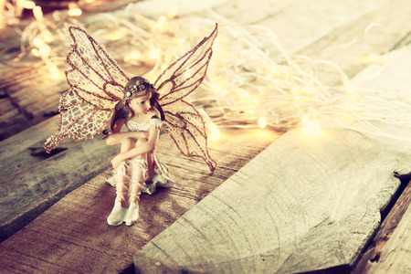 magical forest: image of magical little fairy in the forest . vintage filtered. Stock Photo