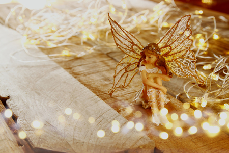 image of magical little fairy in the forest . vintage filtered. Stock Photo