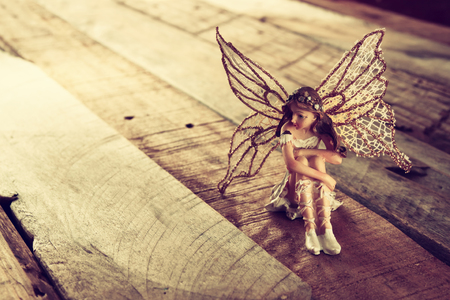 miniature: image of magical little fairy in the forest. vintage filtered
