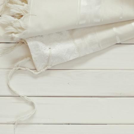 sephardic: White Prayer Shawl - Tallit, jewish religious symbol. Stock Photo