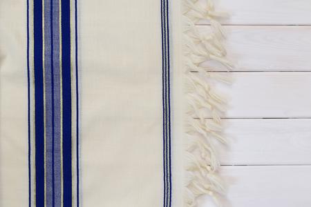 White Prayer Shawl - Tallit, jewish religious symbol. Stok Fotoğraf