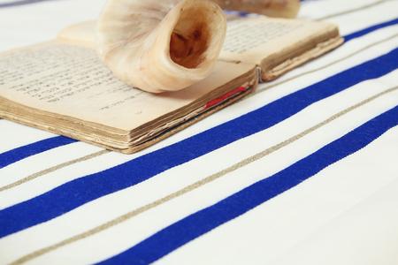 tallit: Prayer Shawl - Tallit, jewish religious symbol. Selective focus. Stock Photo