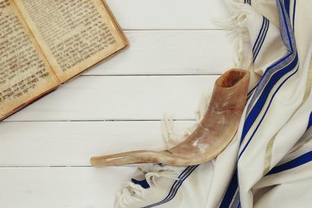 shofar: Prayer Shawl - Tallit and Shofar (horn) jewish religious symbol.