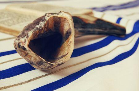 tefillin: Prayer Shawl - Tallit and Shofar (horn) jewish religious symbol