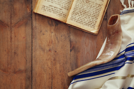 sephardic: Prayer Shawl - Tallit and Shofar (horn) jewish religious symbol