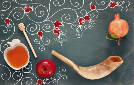 rosh: Rosh hashanah (jewish New Year holiday) concept. Traditional symbols