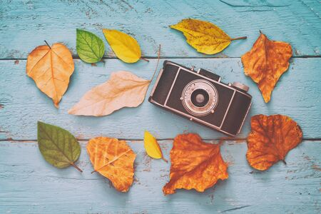 hojas antiguas: Autumn background with dry leaves and old camera on blue wooden table. Retro filtered and toned Foto de archivo