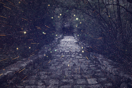 Abstract and mysterious image of old witch castle gate. Filtered photo. Glitter overlay