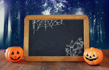 filtered: Abstract, mysterious background of blurred forest and blackboard. Filtered image. Halloween concept
