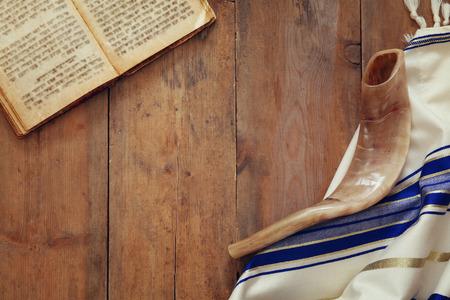yom: Prayer Shawl - Tallit and Shofar (horn) jewish religious symbol.