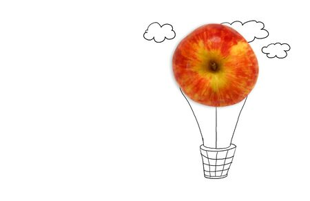 concept of imagination and creativity. apple shape creating air balloon concept. image is isolated