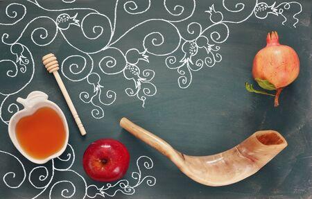 yom: Rosh hashanah (jewish New Year holiday) concept. Traditional symbols