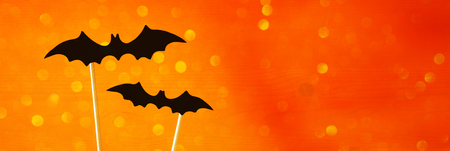 Halloween holiday concept. Funny paper bats. Glitter overlay. Website baner wide format Stock Photo