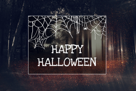 Abstract and mysterious background of blurred forest and phrase: HAPPY HALLOWEEN. Filtered image. Halloween concept