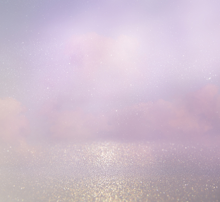 rainclouds: abstract photo of clouds burst in the sky. glitter overlay. Stock Photo