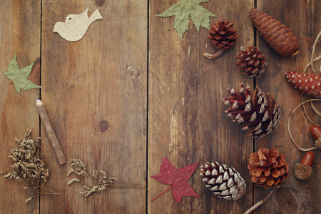 Top view of pine cones on rustic wooden background. Imagens