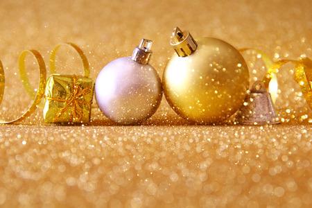 christmas tree ball: christmas festive tree ball decoration on glitter background.