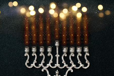 hanukka: Abstract Image of jewish holiday Hanukkah background with menorah (traditional candelabra) Stock Photo