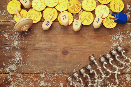 spinning top: Top view Image of jewish holiday Hanukkah with wooden dreidels colection (spinning top)