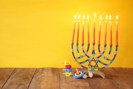 hanuka: Image of jewish holiday Hanukkah with menorah (traditional Candelabra)