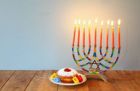 chanukiah: Image of jewish holiday Hanukkah with menorah (traditional Candelabra)