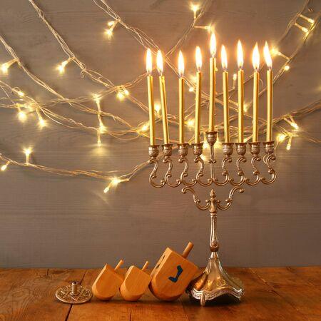 chanukiah: Low key Image of jewish holiday Hanukkah with menorah (traditional Candelabra)