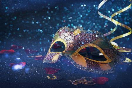 mardigras: Image of elegant venetian, mardi gras mask on glitter background