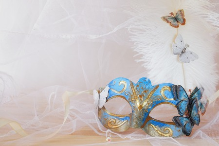 tulle: Image of delicate blue elegant venetian mask in front of white tulle background