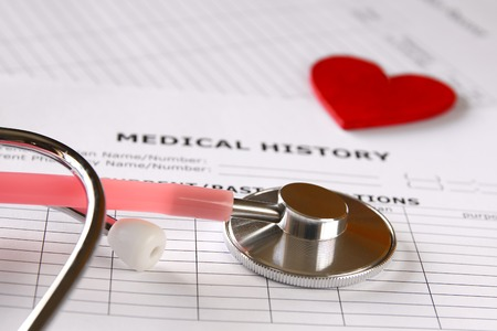 Image of heart and stethoscope. Medical concept.