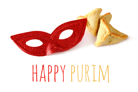 megillah: Purim celebration concept (jewish carnival holiday). Isolated on white