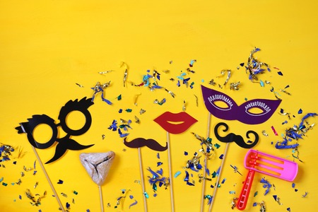 Purim celebration concept (jewish carnival holiday). Top view Stok Fotoğraf