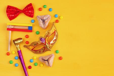 Het concept van Purim viering (joodse carnaval vakantie). bovenaanzicht Stockfoto