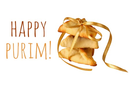 megillah: Purim celebration concept (jewish carnival holiday). Traditional cookie isolated on white