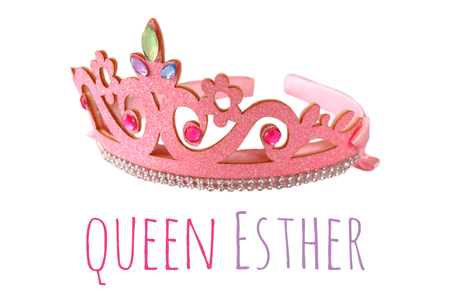 Girls costume crown, isolated on white. Purim celebration party accessory (jewish carnival holiday) Stock Photo