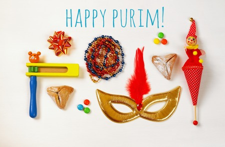 hamantashen: Purim celebration concept (jewish carnival holiday). Top view on white background Stock Photo