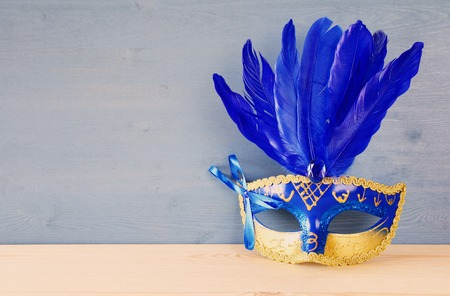 Image of blue with gold elegant venetian mask. Stock Photo