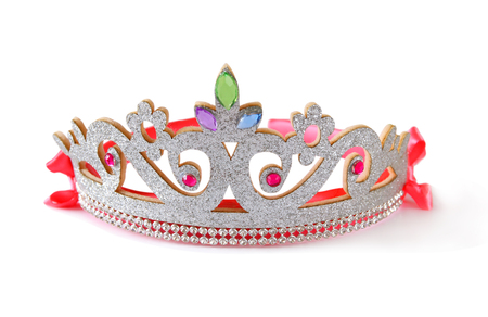 Girls costume crown, isolated on white . Stock Photo