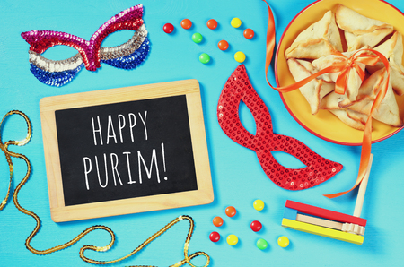 hamantaschen: Purim celebration concept (jewish carnival holiday). Top view Stock Photo