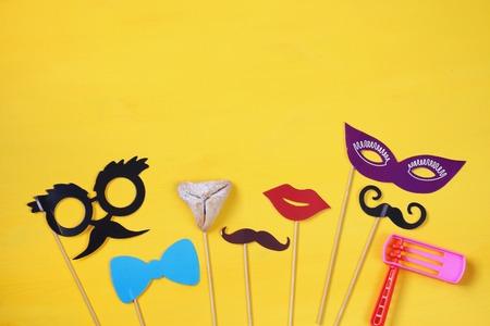 hamantash: Purim celebration concept (jewish carnival holiday). Top view Stock Photo