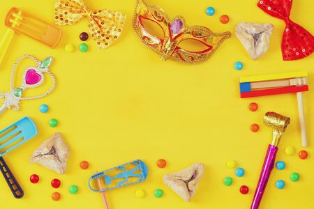 hamantasch: Purim celebration concept (jewish carnival holiday). Top view Stock Photo