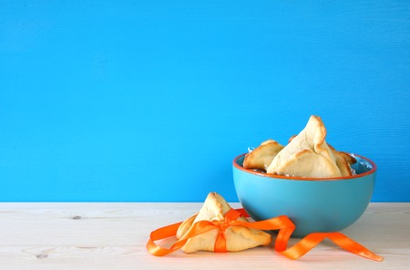 hamantasch: Purim celebration concept (jewish carnival holiday). Traditional cookies