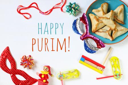 haman: Purim celebration concept (jewish carnival holiday). Top view Stock Photo