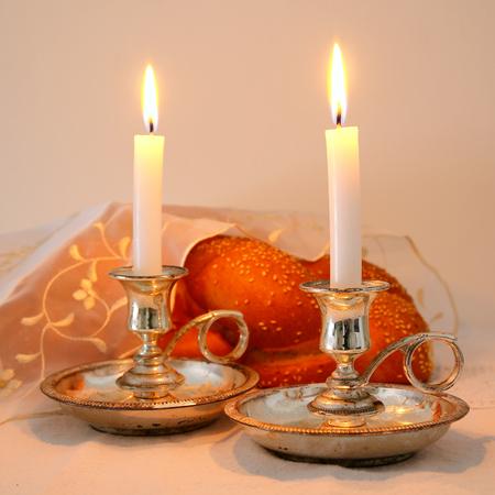 shabbat: shabbat image. challah bread, shabbat wine and candelas on wooden table Stock Photo