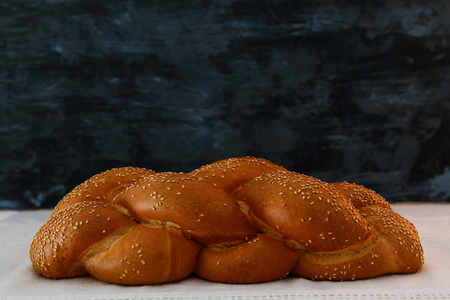 Traditional challah bread close up image.