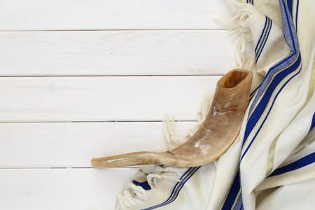 sephardic: Prayer Shawl - Tallit and Shofar (horn) jewish religious symbol.